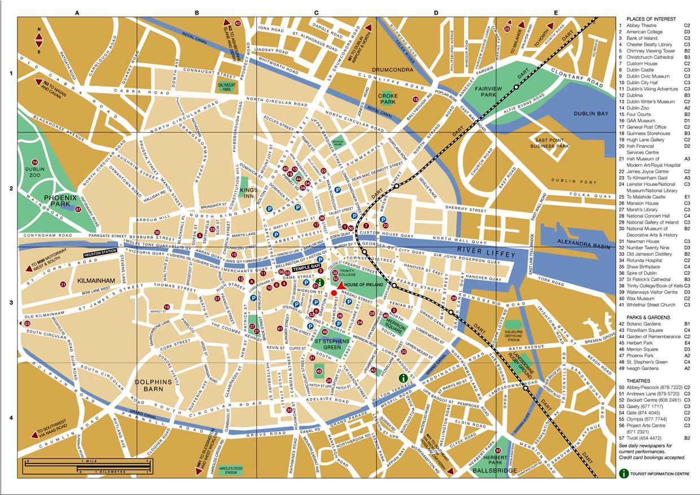 dublin sentrum kart Dublin city map   Kart sentrum av Dublin (Irland) dublin sentrum kart